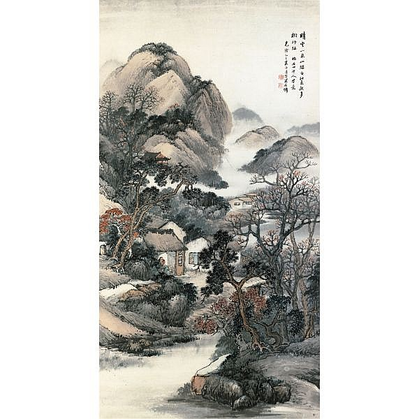 Wu Shixian ?-1916 , MOUNTAIN MIST ink and colour on paper, hanging scroll