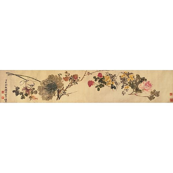 Chen Hengke 1876-1923 , FLOWERS ink and colour on silk, handscroll