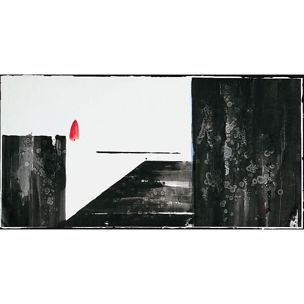 Lü Shoukun 1919-1975 , ZEN - 1974 ink and colour on paper, framed