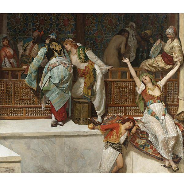 Franz Xavier Simm , Austrian 1853-1918 LIfe in the Harem oil on canvas