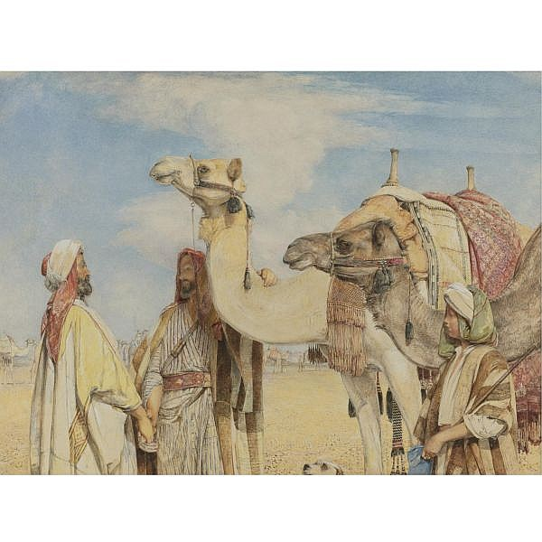 John Frederick Lewis, R.A. , British 1805-1876 Greetings in the Desert pencil, watercolor and gum arabic heightened with white on paper laid down on card
