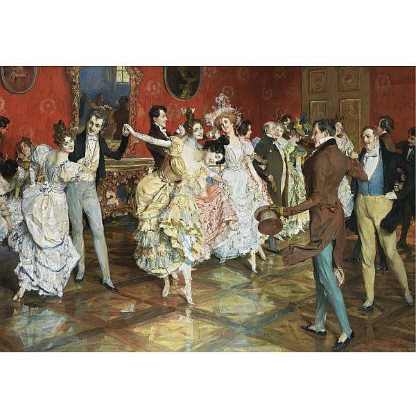 Léopold Schmutzler , Austrian 1864-1941 AT THE BALL oil on canvas
