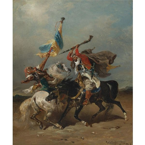 Georges Washington , French 1827-1910 The Skirmish oil on canvas