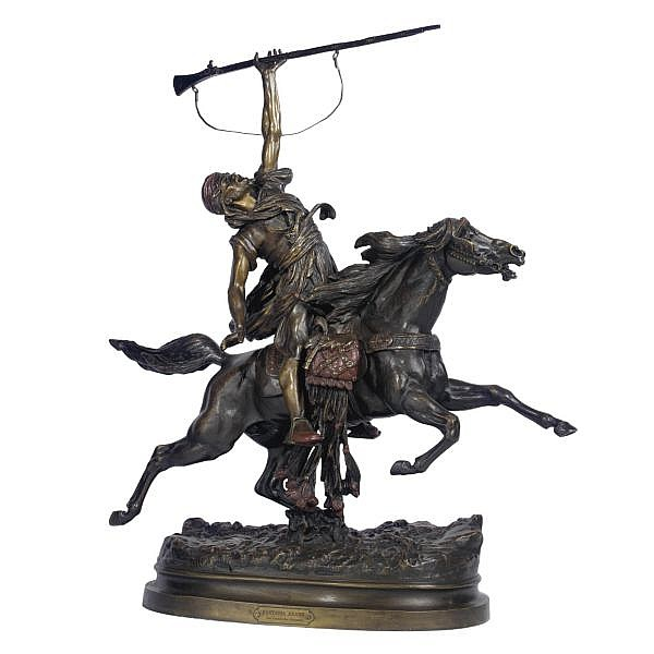 Prosper Lecourtier 1855-1924 , French 1855-1924 Fantasia Arabe bronze, polychrome patina, rich brown and claret