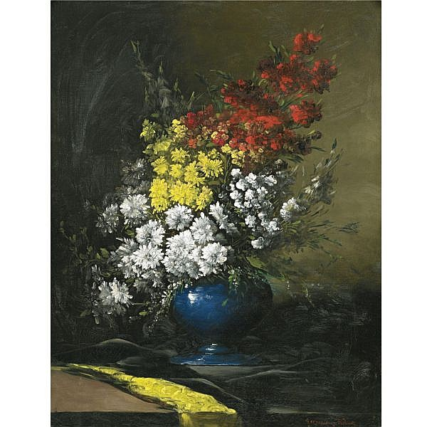 Germain Ribot , French 1845-1893 FLOWERS IN A BLUE VASE oil on canvas