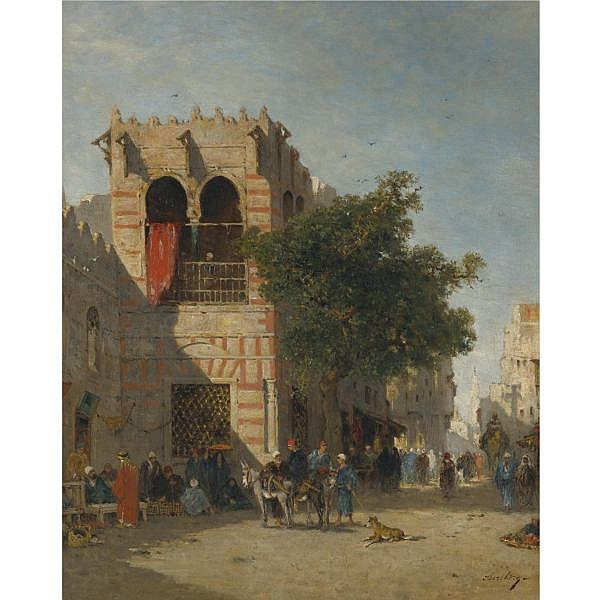 Narcisse Berchère , French 1819-1891 A Busy Street, Cairo oil on canvas