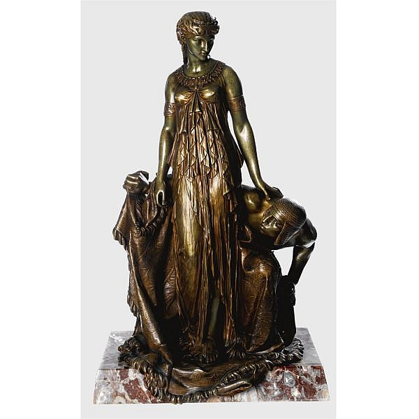 Etienne-Henri Dumaige , French 1830-1888   egyptian princess bronze, green and copper patina, raised on a rouge de Rance marble base