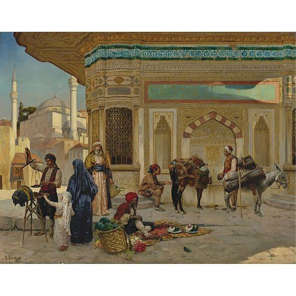 Rudolf Ernst , Austrian 1854-1932 The Fountain of Ahmed III, Istanbul oil on panel