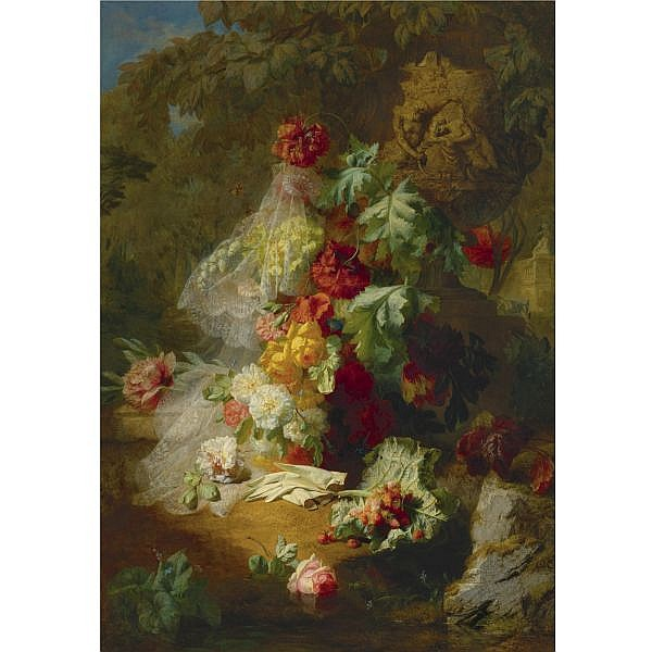 Jean-Baptiste Robie , Belgian 1821-1910   Still Life in a park with an urn of