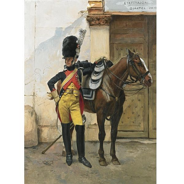 François Flameng , French 1856-1923   An Elite Soldier of the Imperial Guard oil on canvas
