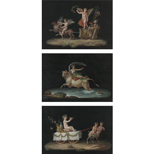 Michelangelo Maestri , Italian d. circa 1812   The Rape of Europa, Putti Driving Chariots (Ten Works) each: gouache on heavy paper