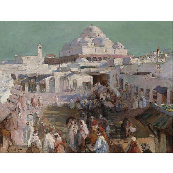 Elizabeth Nourse , American 1859-1938 La Mosquée Sidi-M'harez et la place Bab-Souika, Tunis oil on canvas