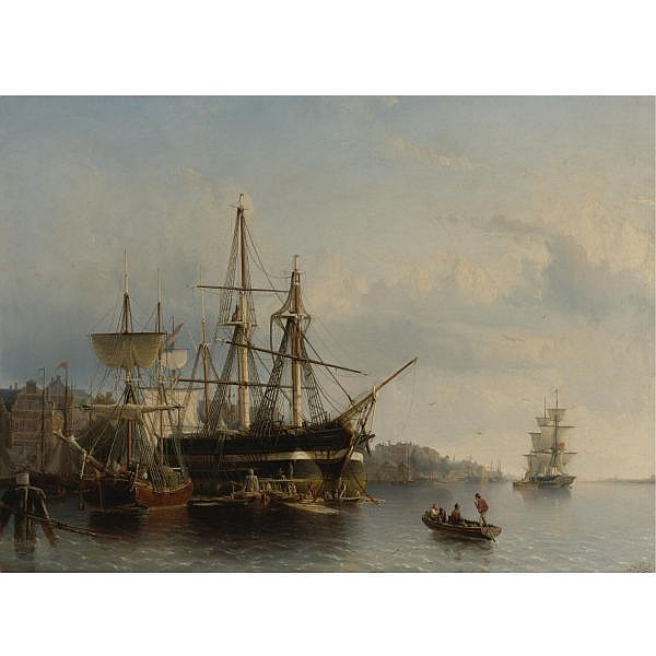 Johann Adolph Rust , Dutch 1828-1915 In the Harbor oil on canvas