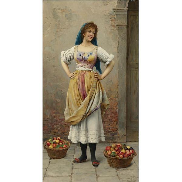 - Eugen von Blaas , Austrian 1843-1931   The Market Girl oil on panel