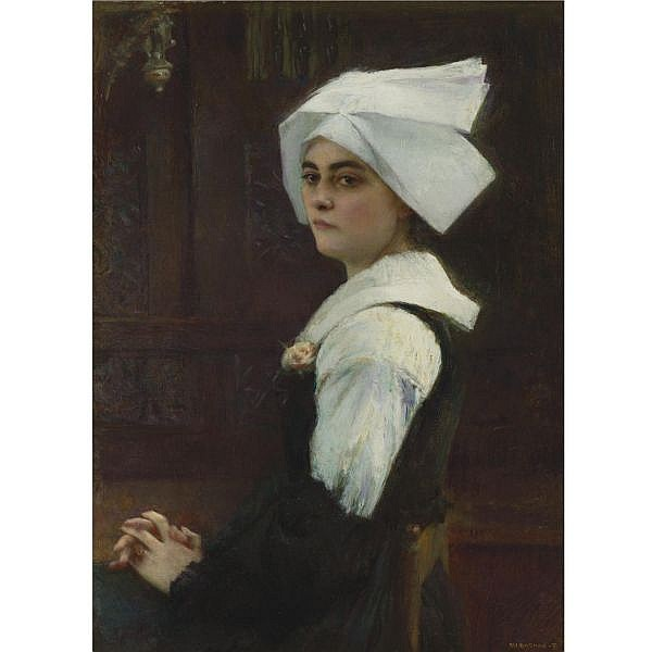 Pascal-Adolphe Dagnan-Bouveret , French 1852-1929 Breton Girl oil on canvas