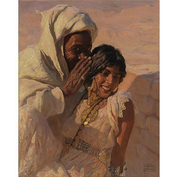 Adam Styka , Polish 1890-1959 The Whisper oil on canvas