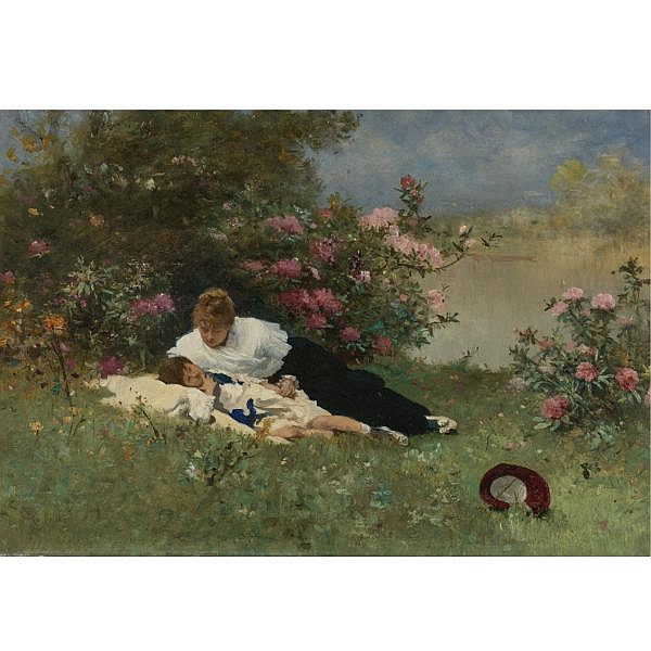 Ferdinand Heilbuth , French 1826-1889 At Rest Among the Flowers oil on panel