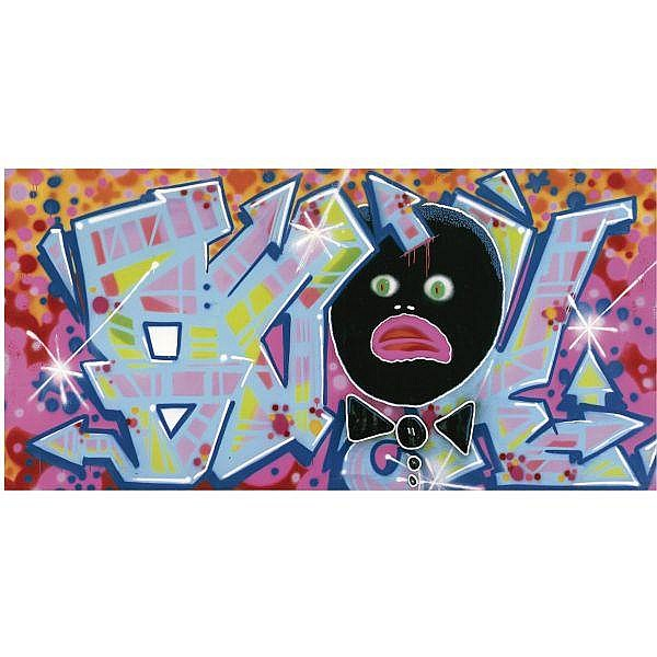Quik (Lin Felton) , b. 1958 It Hurts only when I Laugh   spray paint on canvas
