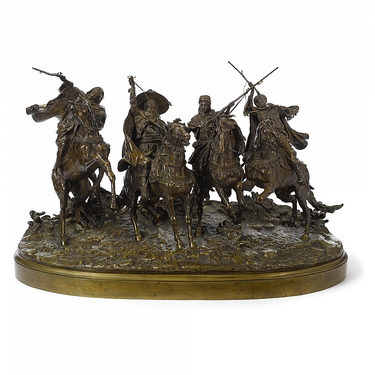 EVGENY LANCERAY (1848-1886), A MONUMENTAL RUSSIAN BRONZE GROUP: ARABIC HORSE GAMES