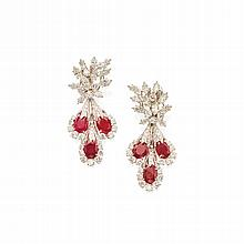 PAIR OF PLATINUM, RUBY AND DIAMOND PENDANT-EARCLIPS, DAVID WEBB