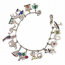 PLATINUM, GOLD, DIAMOND, ENAMEL, PEARL AND COLORED STONE CHARM BRACELET