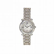 STAINLESS STEEL, DIAMOND AND SAPPHIRE 'HAPPY SPORT' WRISTWATCH, CHOPARD