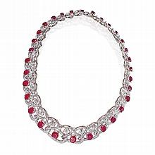 WHITE GOLD, RUBY AND DIAMOND NECKLACE