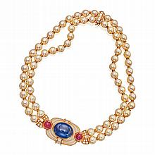 18 KARAT GOLD, SAPPHIRE, CULTURED PEARL, RUBY, ROCK CRYSTAL AND DIAMOND NECKLACE, BULGARI