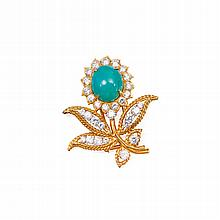 GOLD, PLATINUM, TURQUOISE AND DIAMOND BROOCH, VAN CLEEF & ARPELS