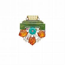 GOLD, PLATINUM, HARDSTONE, RUBY AND DIAMOND CLIP-BROOCH, CARTIER