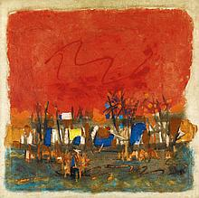 MAQBOOL FIDA HUSAIN   Red Landscape