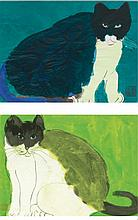WALASSE TING (DING XIONGQUAN)   i. A Blue Cat<br />ii. A Green Cat<br />(two works)