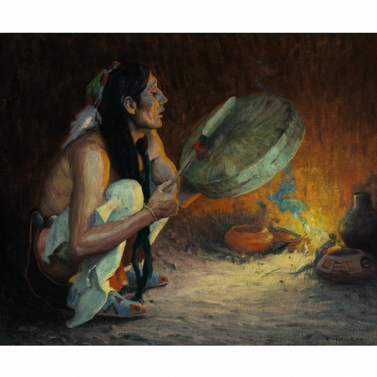E. IRVING COUSE 1866-1936 THE CHANT (THE TOM TOM)