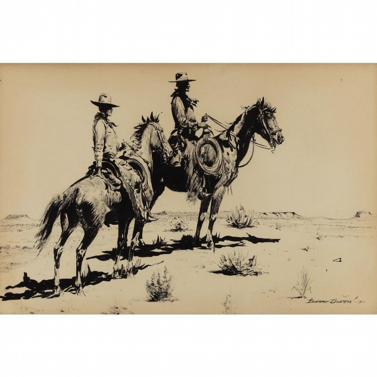EDWARD BOREIN 1872-1945 TWO COWBOYS