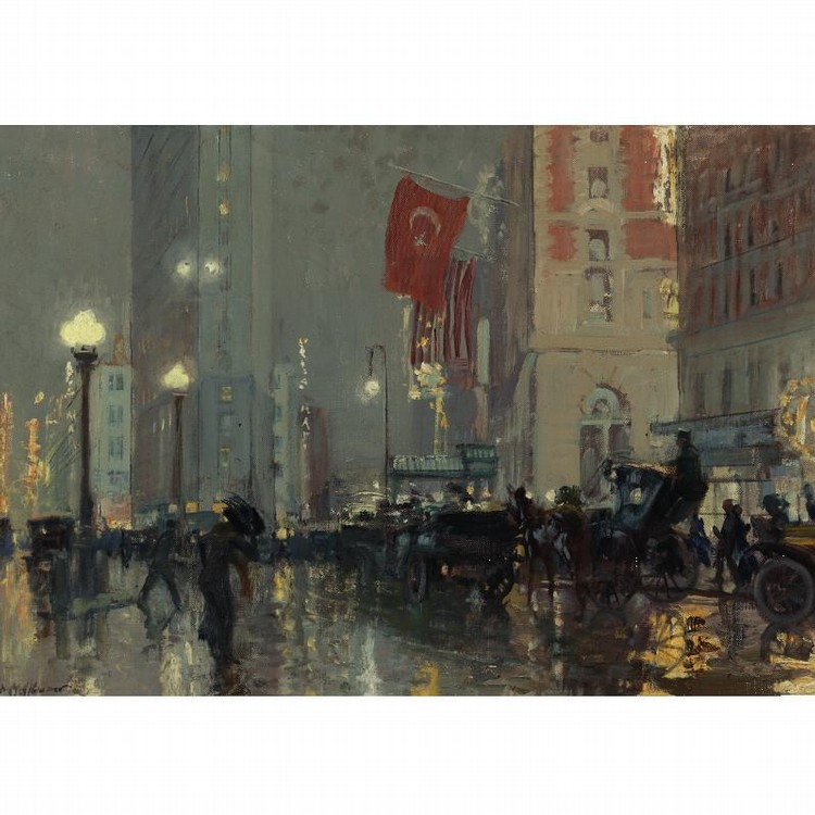PROPERTY FROM THE ESTATE OF IVAN D. KING, JR.   CHARLES HOFFBAUER 1875-1957 TIMES SQUARE AT NIGHT