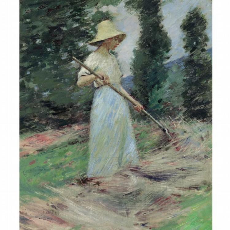 THEODORE ROBINSON 1852-1896 GIRL RAKING HAY