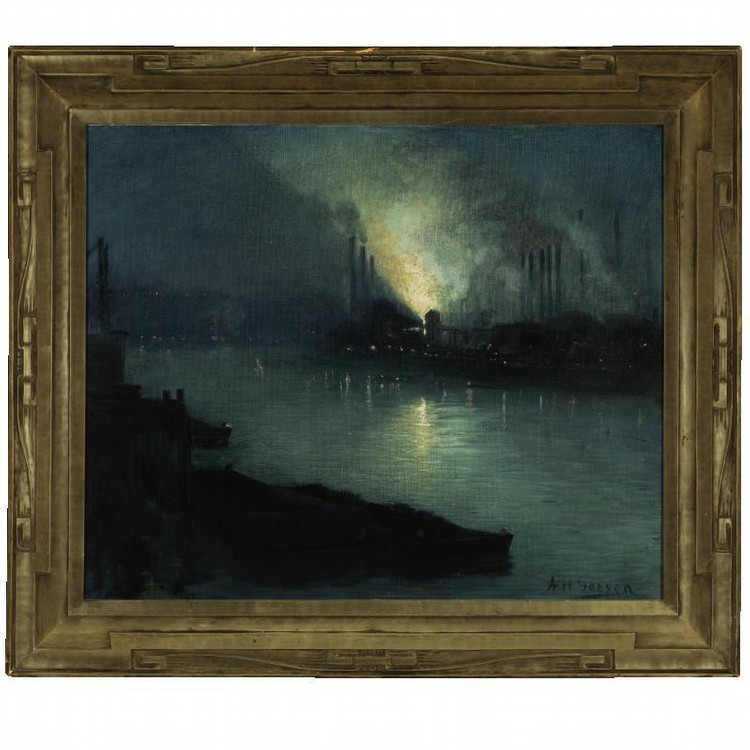 AARON HENRY GORSON 1872-1933 PITTSBURGH STEEL MILLS AT NIGHT