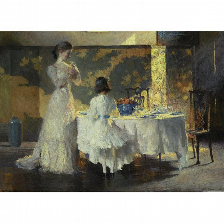 FRANK W. BENSON 1862-1951 THE ARTIST'S DAUGHTERS (THE DINING ROOM)