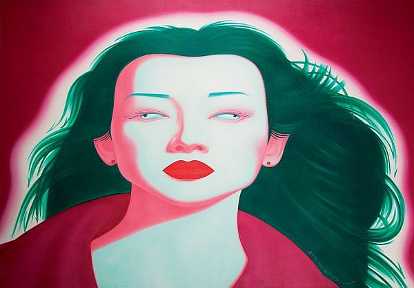 Feng Zhengjie , B. 1968 Chinese Portrait Series, No.08 oil on canvas