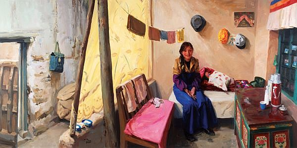 Yu Hong , B. 1966 She - Tibetan Woman Zhou Ma acrylic on canvas, chromogenic print