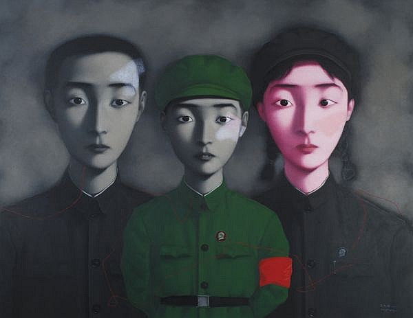 Zhang Xiaogang , B. 1958 Bloodline: The Big Family No. 3 oil on canvas