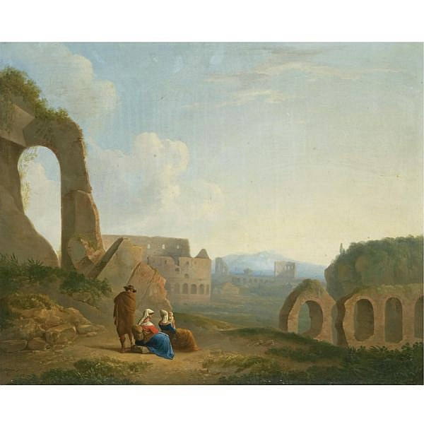 Thomas Barker of Bath , 1769 - 1847 A Roman capriccio with figures, the colosseum beyond oil on canvas