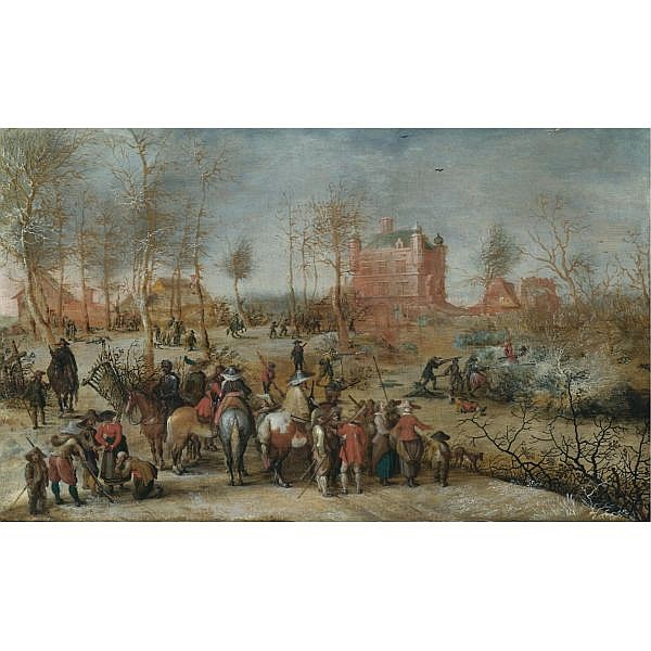 - Pieter Snayers , Antwerp bapt 1592 - 1667 Brussels A winter landscape with soldiers defending a town oil on canvas