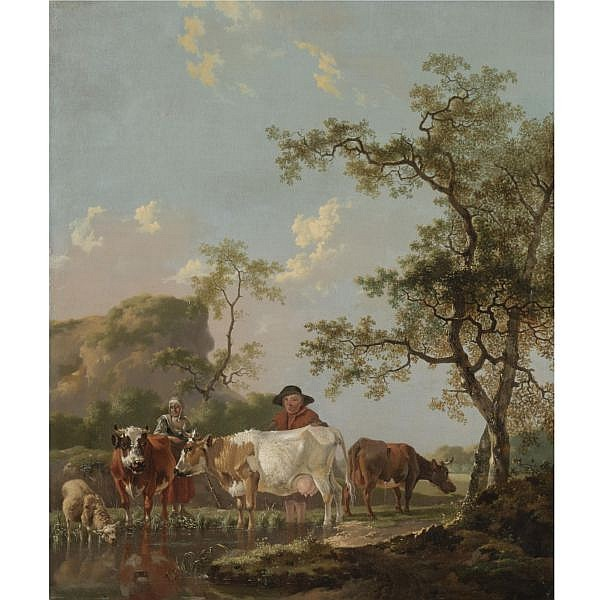 - Barend Hendrik Thier , Lüdinghausen 1743 - 1811 Leiden A landscape with two peasants and their cattle beside a stream oil on panel