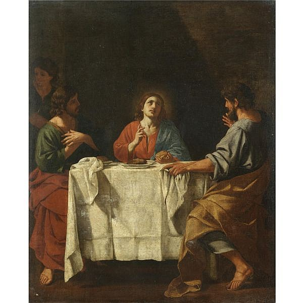 Giacinto Gimignani , Pistoia 1606 - 1681 Rome   The Supper at Emmaus oil on canvas