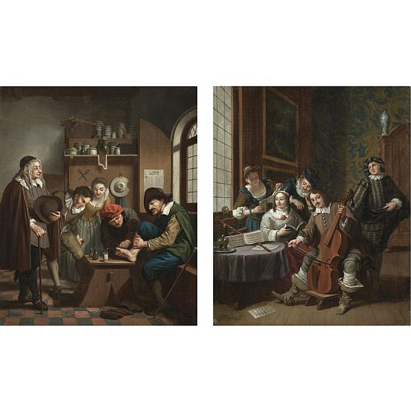 - Jan Josef Horemans the Younger , Antwerp circa 1714 - after 1790 A musical company in an interior; A visit to the physician both oil on canvas