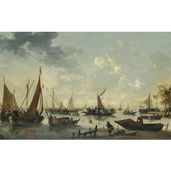 Hendrick de Meyer , Rotterdam circa 1620 - before 1690 Boats and ships on the river Maas, the Grote Kerk and Dordrecht in the distance oil on panel