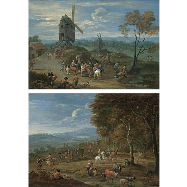 - Mathys Schoevaerdts , Brussels circa 1665 - After 1702   An extensive landscape with peasants selling fruit before a series of windmills; A landscape with travellers passing by the edge of a forest both oil on copper