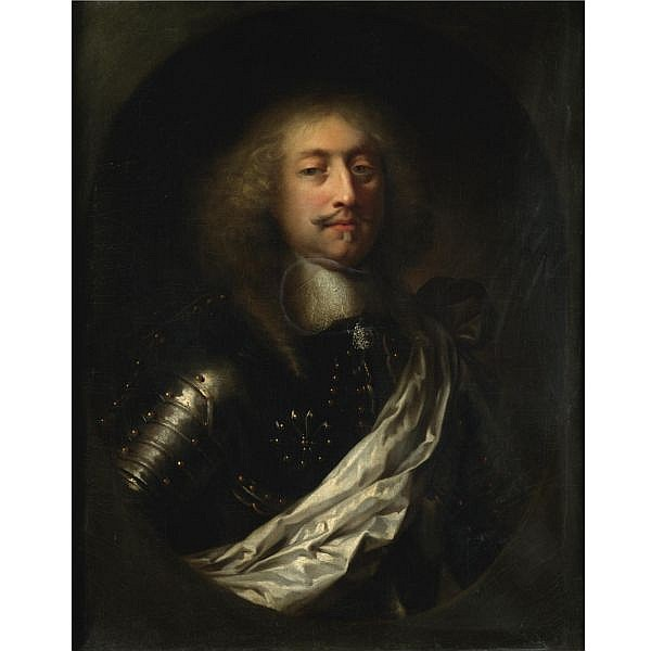 Attributed to Claude Lefebvre , Fontainebleau 1632 - Paris 1675 portrait of a man, half length, wearing armour and a white silk sash   oil on canvas, painted oval