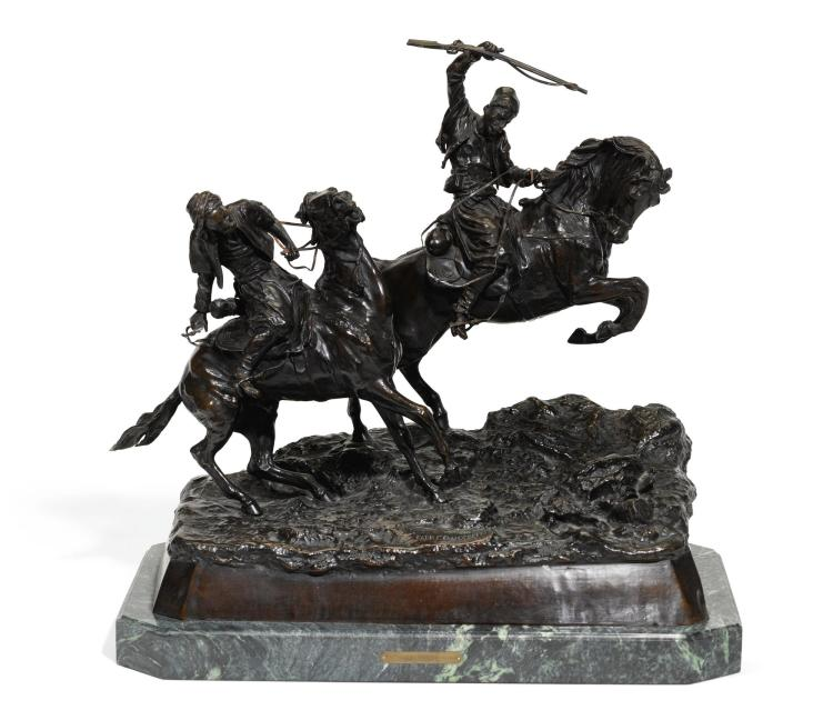 GALLOPING CHERKESSIANS: A BRONZE FIGURAL GROUP, AFTER THE MODEL BY VASILY GRACHEV (1831-1905), CAST BY WOERFFELL, ST PETERSBURG |